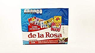 De la rosa Fruit Flavored Chewing Gum, 1 Box 100 packs of 4 pieces Authentic Mexican Candy with Free Chocolate Kinder Bar Included