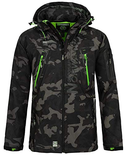 Geographical Norway Techno Softshelljacke Herren Kapuze abnehmbar, Black/Green, 3XL