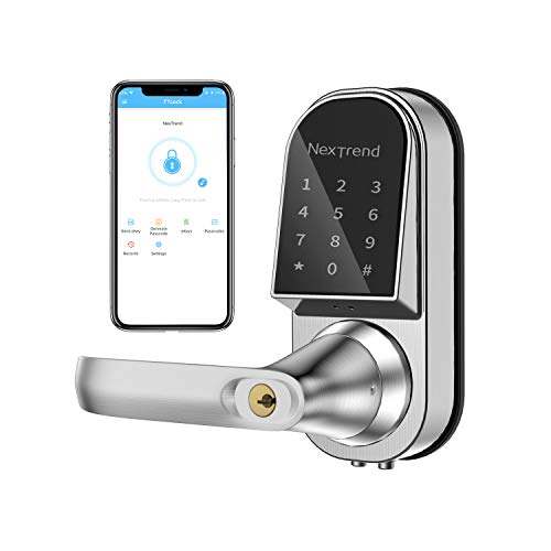 Smart Lock, NexTrend Keyless Entry Door Lock Electronic Front Door Lock Free APP Control with Bluetooth, Touchscreen, Mechanical Keys for Home, Hotel, Apartment, Left Handle