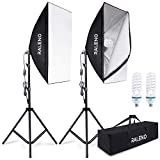 RALENO 800W Softbox Photography Lighting Kit 2 X 50 X 70 inch Professional Photography Continuous Lighting Equipment with 2 x E27 Socket 5500K Bulbs for Portraits and Product Shooting