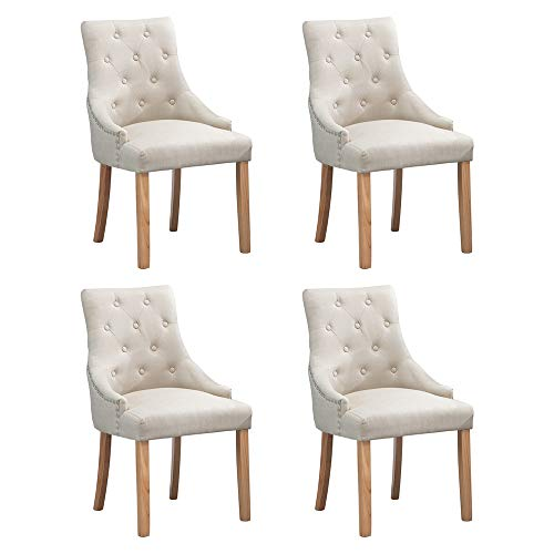 BOJU Modern Cream Dining Chairs Armchairs Set of 4 Kitchen Fabric Upholstered Chairs with Arms Oak Wood Natural Legs Chairs for Restaurant Living Room Side Chairs Beige x4