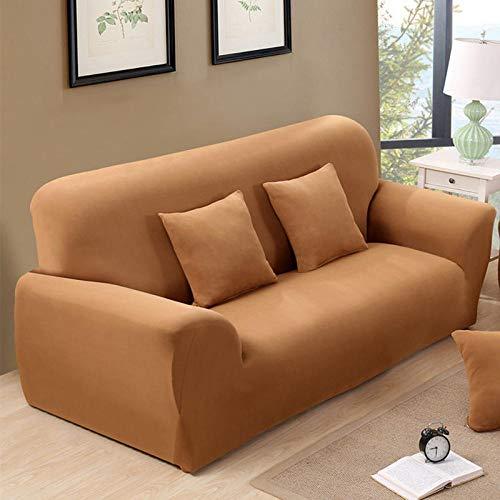 Allenger Funda Elástica de Sofá,Funda de sofá elástica de Color Puro, protección Antideslizante para Muebles y Funda antiincrustante, Lavable-Camel_90-140cm