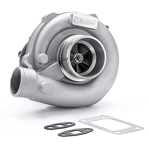 maXpeedingrods T3 T4 T04E T3/T4 Turbo 0.63A/R 400+HP Boost Turbine 7psi-21psi, T3T4 5-Bolt Flange Turbocharger for 1.6L-2.5L engines Oil Cooled W/Gaskets