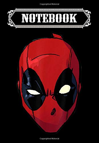 Notebook: Marvel Deadpool Big Face, Journal 6 x 9, 100 Page Blank Lined Paperback Journal/Notebook