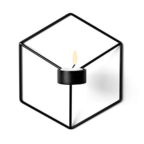 Candelabro Geométrico 3D, Candelabros Creativos De Pared, Decoraciones Caseras De Pared. Estilo Europeo único, Adecuado Para Colgar En La Pared, Decoración Del Hogar y Fiestas (Luz De Pared Negra)