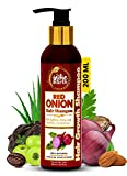 The Indie Earth Red Onion Shampoo with Caffeine Curry Leaf and Indian Alkanet Root Controlling Hair Fall Splitends and Dandruff - 200ml / 6.76 Fl.Oz Best Onion Shampoo