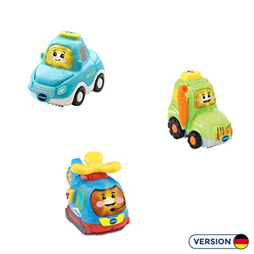 Vtech 80-242164 Tut Tut Baby Flitzer - 3er Set Stadt-Land-Flug (Coupé, Trecker, Helikopter), Babyautos, Mehrfarbig