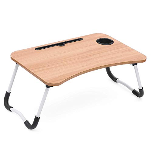 Fayby Wooden Portable Laptop Desk | Foldable Laptop Table with Tablet Slot & Cup Holder | Bed Breakfast Serving Table, Study Table with Folding Non-Slip Legs (Multi Color)