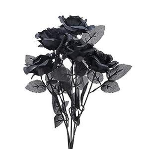 huaesin 5pcs artificial roses flowers bouquets silk rose stem fake flower blossom for indoor outdoor halloween wedding centerpiece party home decor black silk flower arrangements