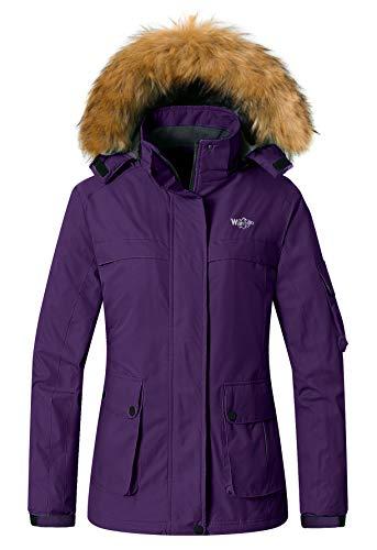 Wantdo Women's Skiing Coats Rain Jacket Waterproof Snowboarding Jackets Winter Coat Dark Purple S