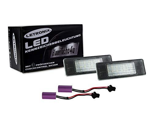LETRONIX SMD LED Kennzeichenbeleuchtung Module geeignet für W906 / W639 / Pathfinder III R51 / Pulsar C13 / Note/Primera P12 / Qashqai J10/J11 / Qashqai+2 JJ10 mit E-Prüfzeichen