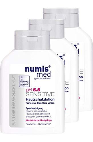 numis med Hautschutzlotion ph 5.5 SENSITIVE - Körperlotion vegan - Lotion für sensible, feuchtigkeitsarme & zu Allergien neigende Haut - Bodylotion im 3er Pack (3x 200 ml)