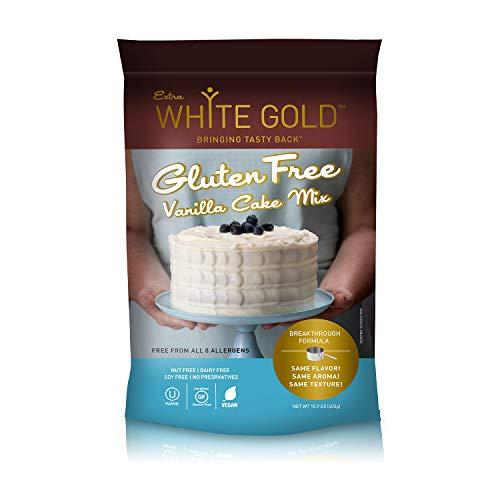 Extra White Gold Gluten Free Vanilla Cake Mix – For Cake Cupcakes Desserts – [Kosher] [Gluten Free] [Vegan] [Soy Free] [Nut Free] [Dairy Free] – 15.9 Ounces