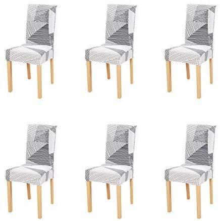 6 fundas elásticas para sillas de comedor con patrón impreso, fundas protectoras para sillas de banquete, para fiestas, hoteles, bodas y ceremonias (F)