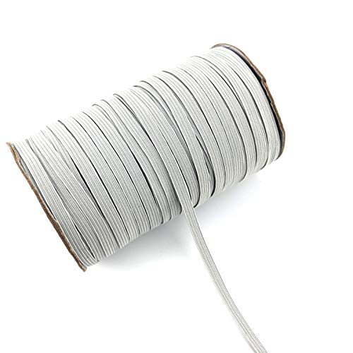 Thank You All Colored Elastic Bands 1/4 Inch 6.5 mm Braided Rope for Mask Heavy Stretch Elastic Cord for Sewing and Crafting DIY Gray Color Elastic Cord 144 Yards