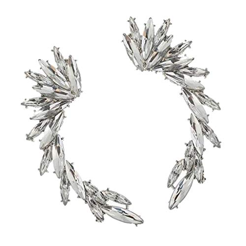 1 Pair Fashion Women's Leaves Rhinestone Ear Cuff Climber Earrings Jewelry Gifts - Silver