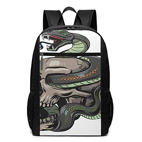Schulrucksack Skull Snake 425, Schultaschen Teenager Rucksack Schultasche Schulrucksäcke Backpack für Damen Herren Junge Mädchen 15,6 Zoll Notebook