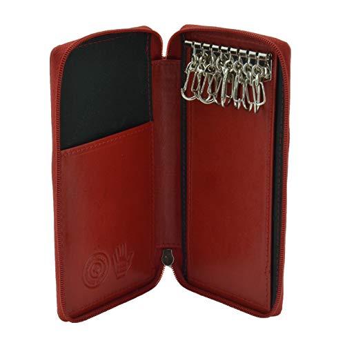 Conte Massimo, llavero para hombres y mujeres, Piel auténtica, cierre con cremallera, con ganchos y bolsillos, con caja de regalo Rojo grande -