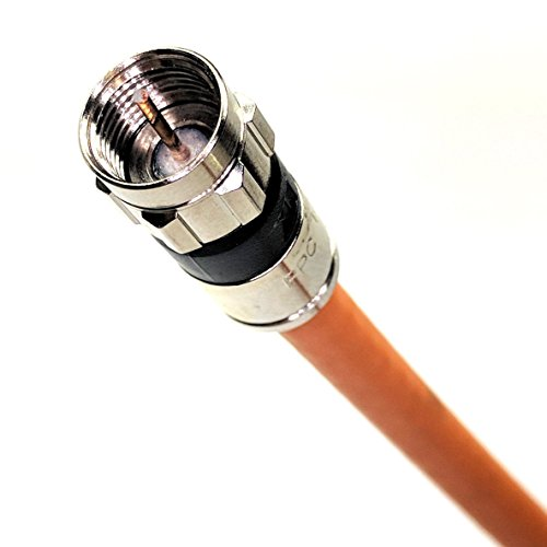18AWG 75 Ohm UL ETL 25 feet, Orange Assembled in USA 3GHz Direct Burial RG6 Satellite TV Antenna Coaxial Cable Weather Seal ALL BRASS F-Connectors PHAT SATELLITE INTL