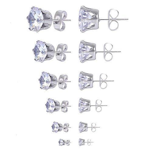 N-K PULABO 6 Pairs Titanium Steel Zirconium Zircon Earrings 3MM-8MM Jewellery for Women Girl Stylish and Popular Beautiful
