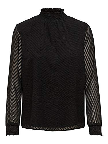 Only Onlnew Kayla L/s Top Wvn Blusa, Negro (Black Black), Large (Talla del Fabricante: 40) para Mujer