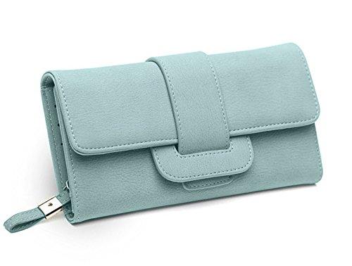DNFC Geldbörse Damen Portemonnaie Lang Portmonee Elegant Clutch Handtasche Groß Geldbeutel PU Leder Geldtasche mit Reißverschluss und Druckknopf für Frauen Neu Design (Grün)