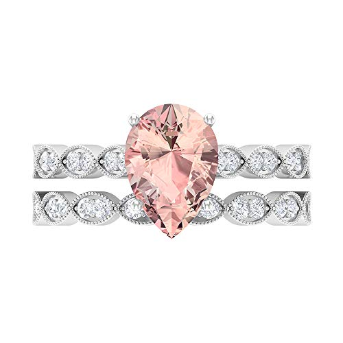 2.51 CT Lab Created Morganite Ring, D-VSSI Moissanite Bridal Ring Set, 7X10 MM Pear Shaped Engagement Ring, Gold Side Stone Ring, 14K White Gold, Size:UK X