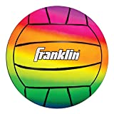 Franklin Sports Kids Volleyball - Vibe Rainbow Color Volleyball - Soft Plastic Indoor + Outdoor Playground Volleyball - 8.5'
