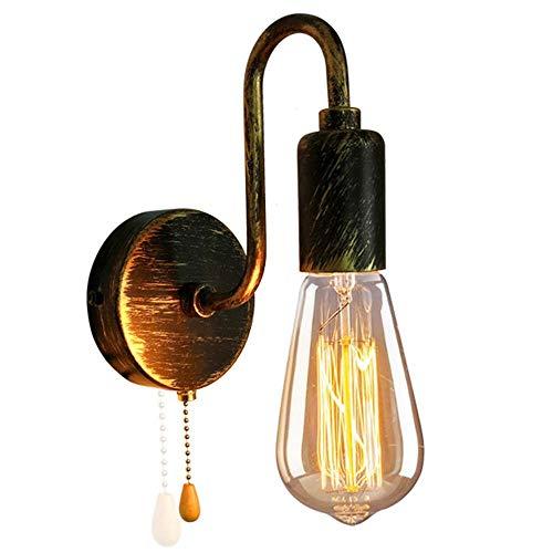 Lámpara de pared industrial vintage, interior con interruptor de tirón, aplique de pared, accesorios de lámpara de estilo retro, lámpara de pared con enchufe E27 para Island Loft, bar, restaurantes,