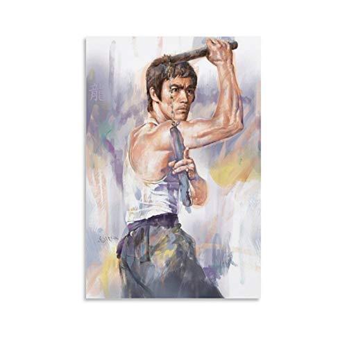 Bruce-lee Pintura Inmortal Dragón Músculo Artes Marciales Maestro Adulto Lienzo Pintura Restaurante Hotel 08x12inch(20x30cm)