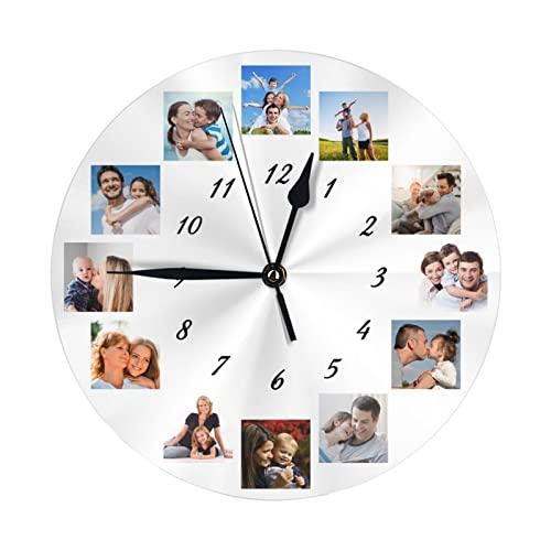 Reloj de Pared Personalizado, Reloj Personalizado con Texto con Foto, Reloj Personalizado Familia Madre Padre Cumpleaños Boda Día de San Valentín Navidad Cumpleaños Regalo de Boda