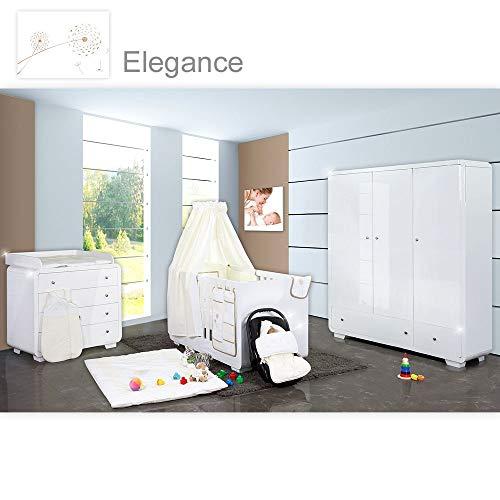 Yves - Juego de cama para bebé (19 piezas, armario de 3 puertas y cama de tamaño grande), color crema