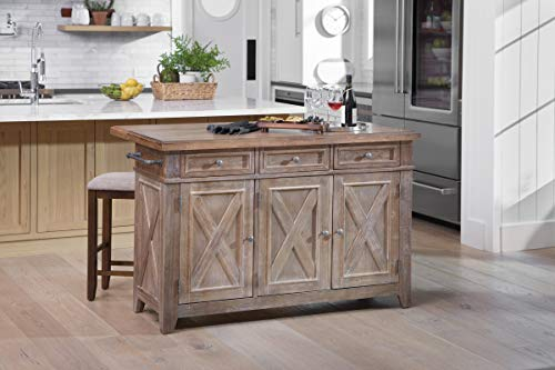 OSP Home Furnishings Cocina Kitchen Island with Drop Leaf, Brown