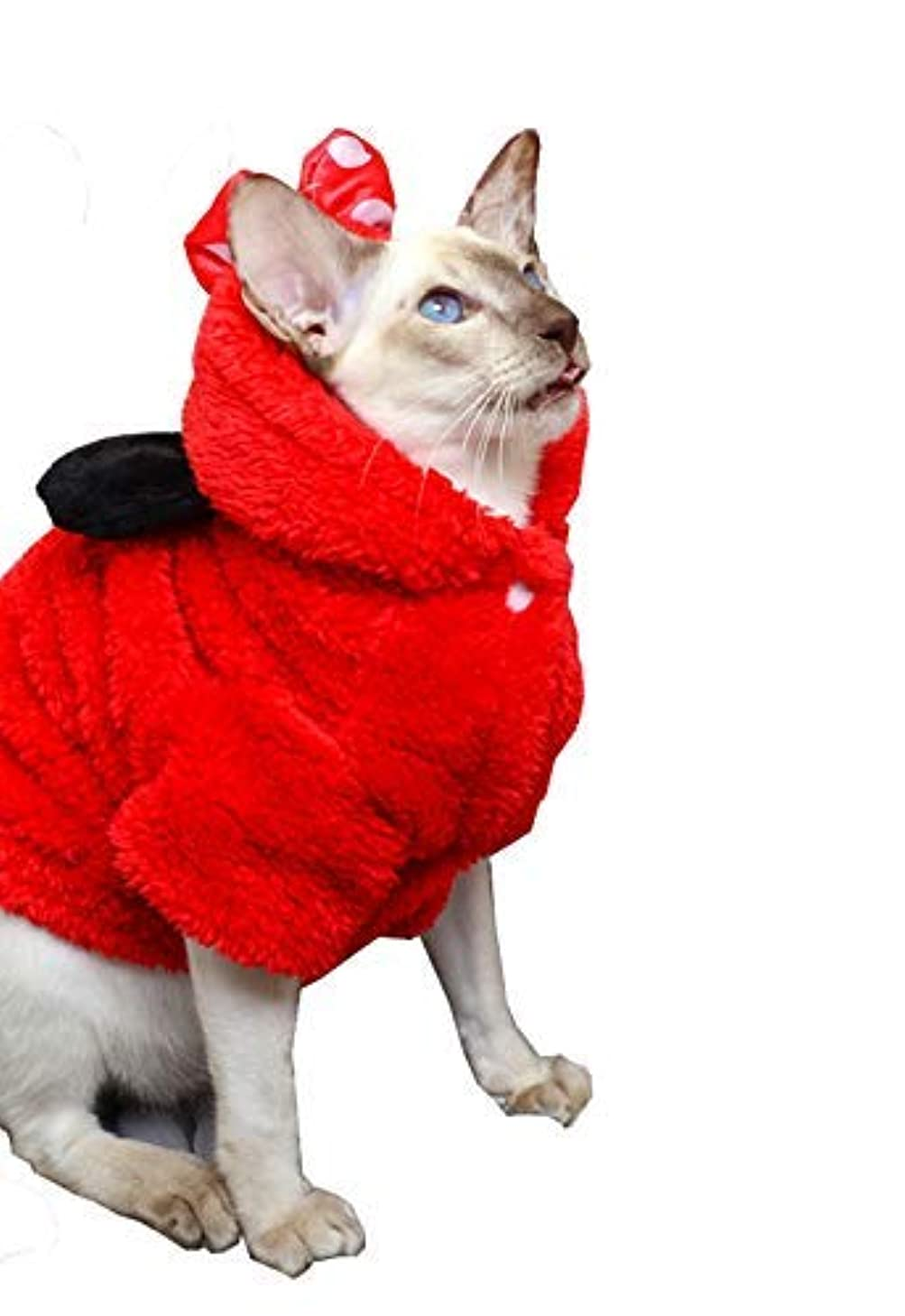 Khemn Designer Winged Cat Hoodie Warm Cat Sweater with Thick & Soft Flannel-Best for Hairless Cat, 3 Colors