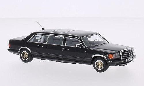 Mercedes W126 SGS Royal LWB, matt-Schwarz 1985, Modellauto, Fertigmodell, GLM 1 43
