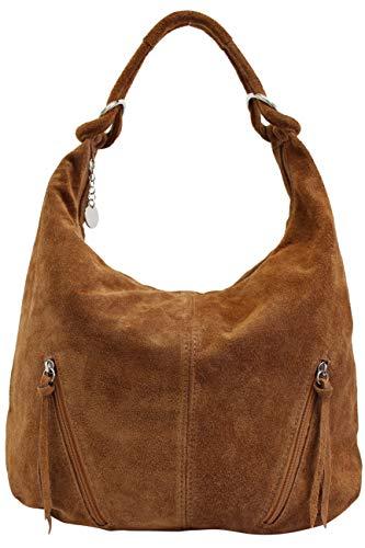 AMBRA Moda Damen Ledertasche Shopper Wildleder Handtasche Schultertasche Beuteltasche Hobo Tasche Groß WL822 (Cognac Braun)