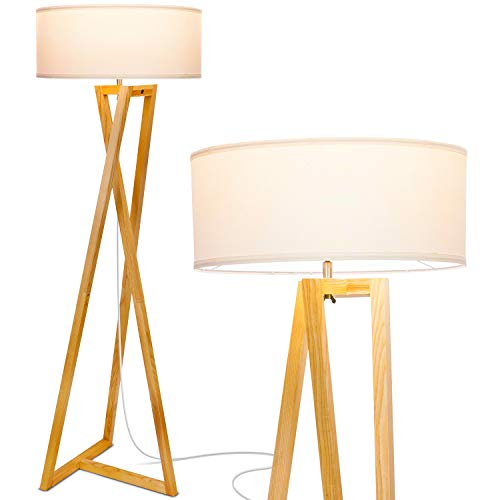 "Brightech""Z"" Wood Tripod LED Floor Lamp - Mid Century Modern Light for Living Rooms & Family Rooms - Tall Standing Lighting for Contemporary Bedrooms & Offices"