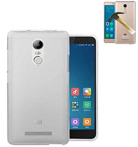 Todobarato24h Funda TPU Lisa Compatible con Xiaomi REDMI Note 4 Pro Note 4 X Blanca + Protector DE Cristal Templado
