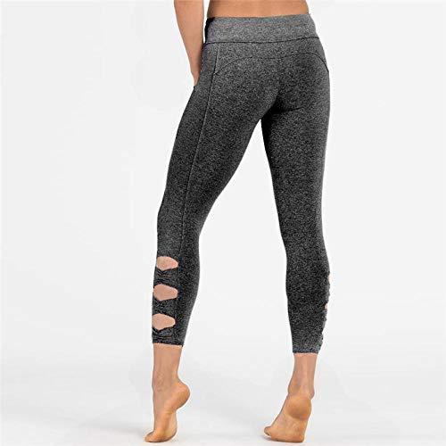 Niet-doorschijnende stretchy legging met hoge taille voor meisjes,Dunne legging voor dames, fitness yogabroek-Silver_S,Taille yogabroek met zakken