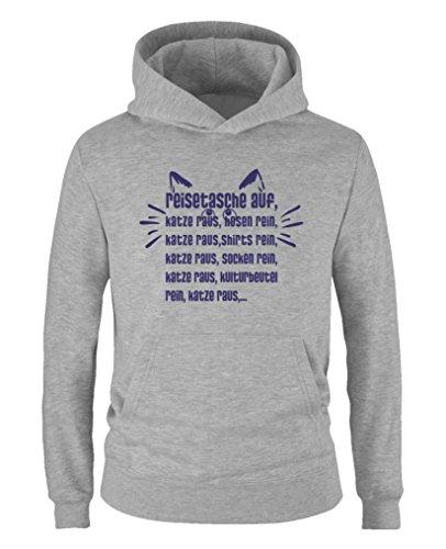 Comedy Shirts - Sac de voyage à capuche pour chat et chat, pantalon pur, shirts pur, chat et râpe - Sweat à capuche pour fille - Capuche kangourou à manches longues - Gris - 98