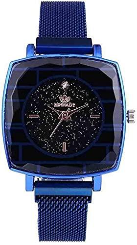 JZDH Mano Reloj Reloj de Pulsera Rosa Rosa Gold Square Malla de Malla de Acero Inoxidable Lady Simple Wristwatch Movimientos de Cuarzo japoneses Femme Relojes Decorativos Casuales (Color : Blue)