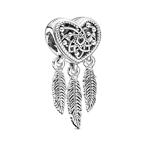 Pandora Passions Open Heart & Three Feathers Dream Catcher Charm Sterling Silver 25mm 799107C00