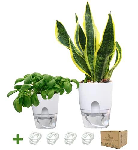 Hydrox® Küchenkräuter Blumentopf | Pflanzentopf mit Selbstbewässerung und Wasserspeicher | 2er Set Weiß, Ø 15,5 Groß 10,5 cm Klein | Ideal als Kräutertopf
