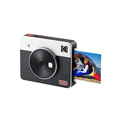 Kodak Mini Shot 3 Retro Cámara Instantánea e Impresora Fotográfica Portátil, iOS y Android, Tecnología 4Pass (76 x 76 mm) - Blanco - 8 Hojas