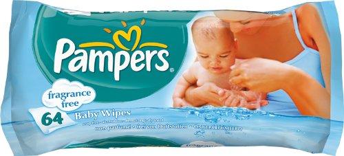 Pampers Feuchte Tücher Babyfresh Parfümfrei Nachfüllpack, 64 Stück