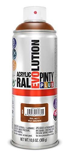 PINTYPLUS EVOLUTION 604 Pintura Spray Acrílica Brillo 520cc Nut Brown, Marrón Ral 8011, Estándar