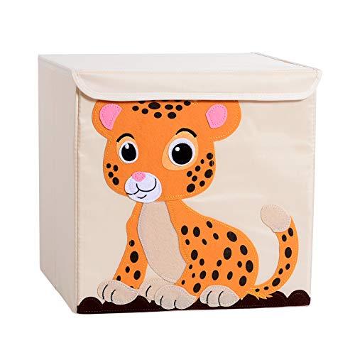 Shinyeagle Scatola portaoggetti per giocattoli,organizer per giocattoli con coperchio pieghevole per cubo, utilizzabile nella stanza dei bambini,tema animale, lavabile, 33 * 33 * 33 cm (Léopard)