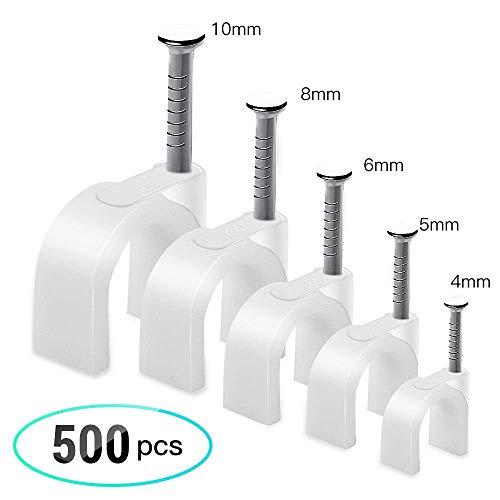 AGPTEK 500 Stücke Kabelschellen Nagelschellen Haftclips mit Nagel für Kabel Größen: 4mm, 5mm, 6mm, 8mm,10mm, 100 Stück je Größe, Weiß