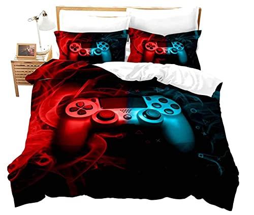 Juego de funda de edredón de 220 x 230 cm, color rojo y azul, juego de cama para niños, funda de edredón 3D, decoración de dormitorio, 3 piezas