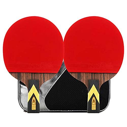 HXFENA Raquetas de Tenis de Mesa,Palas de Ping Pong Competitivo de 6 Estrellas CíRculo de Arco Ataque RáPido con Bolsa de Almacenamiento,para Profesionales Intermedios/A/Mango corto